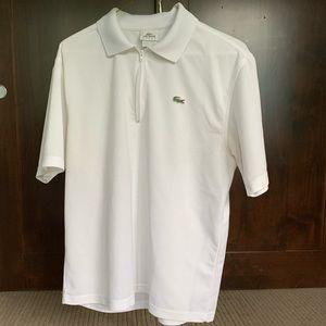 Lacoste sport white polo w zipper